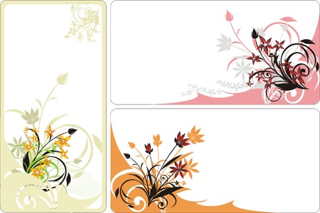 Bouquets. Decorative floral background for three cards. Vector Vector