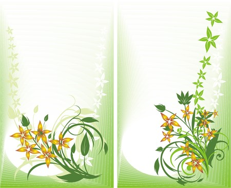 fragments: Two decorative cards. Bouquets. Vector