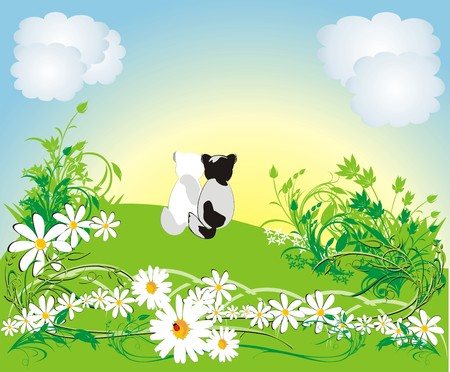 Cats and chamomiles. Spring composition. Vector Stock Vector - 4539543