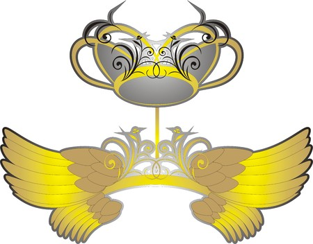 Wings and crown. Vector Vector