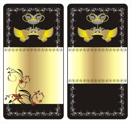 Wings, crown and decorative ornament. Two cards. Vector Vector