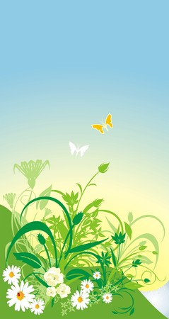 warmly: Spring composition for card. Vector Illustration