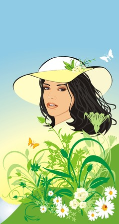Beautiful woman in a hat among flowers. Spring composition. Vector Vector