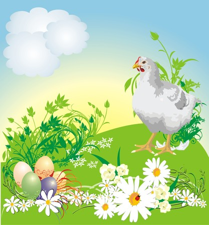 Easter. Spring composition for card. Vector Vector