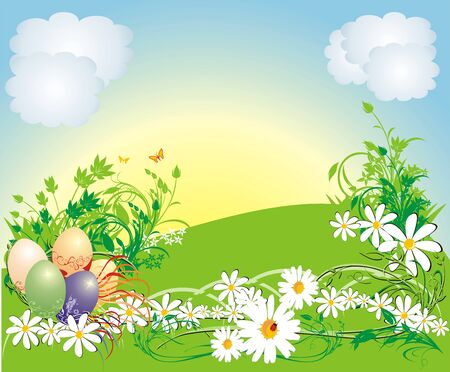 warmly: Spring composition for card. Easter. Vector
