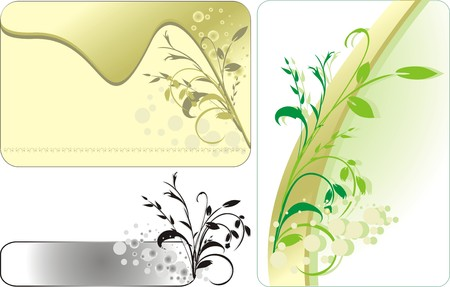 fragments: Decorative twigs. Compositions for three card. Vector Illustration