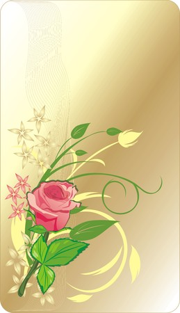 Pink rose. Decorative card. Vector Stock Vector - 4539556