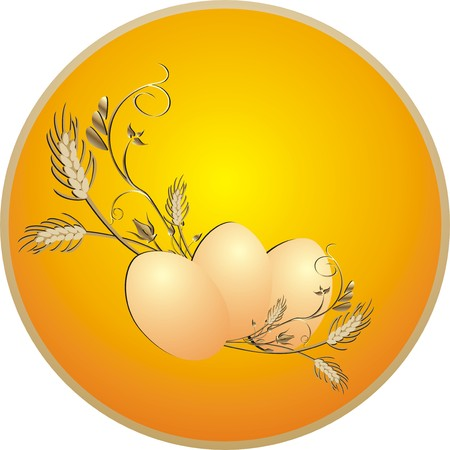 Eggs and wheat. Vector Vector