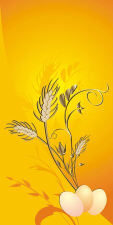 Eggs, wheat and twigs. Card. Vector Vector