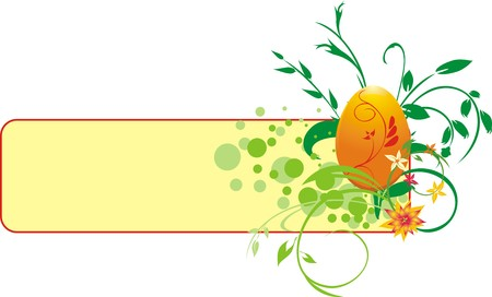 Decorative banner with egg and bouquet. Vector Vector