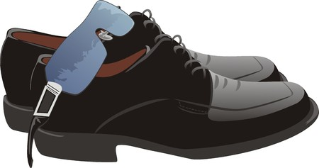 business shoes: Masculine shoes and glasses. Vector Illustration