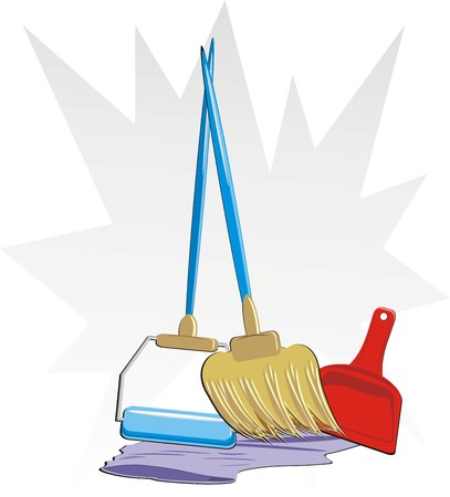 Menge von Objekten für die Reinigung der Wohnung. Vector