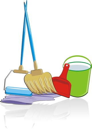 cleaning up: Objects for cleaning up of apartment. Vector