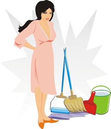 emmer water: Vrouw met een set van objecten voor reiniging van de appartementen. Vector