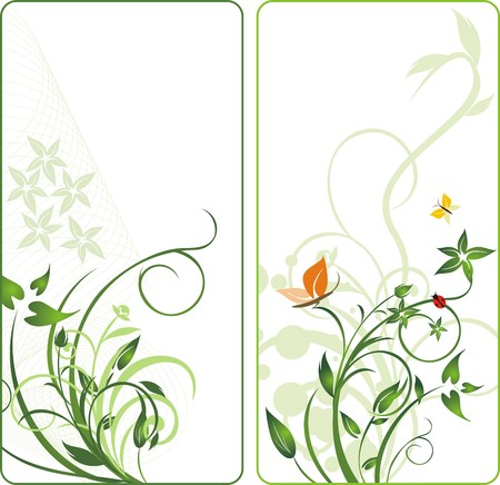 Plants and insect. Abstract backgrounds for two cards. Vector Illustration