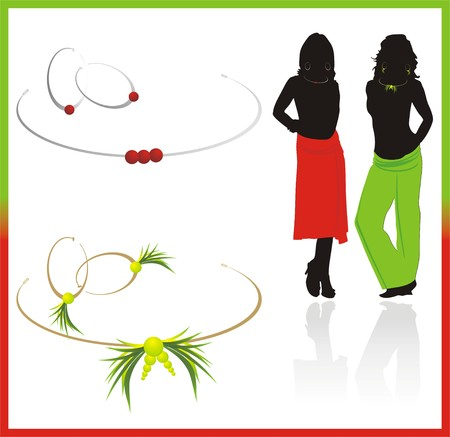 bijouterie: Earrings and necklace. Two sets and silhouettes of girls. Vector Illustration