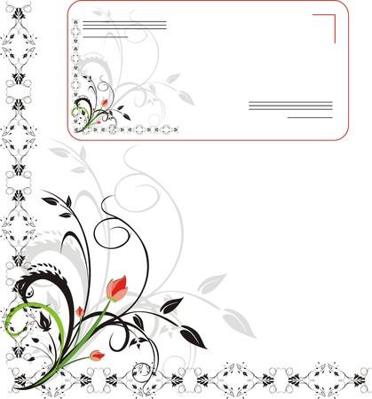 Bouquet. Ornament for design of envelope. Vector Vector