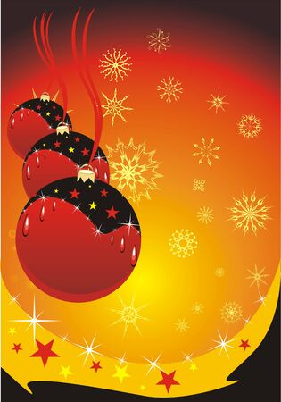 Snowflakes and three Christmas balls. Background for card. Vector Vector