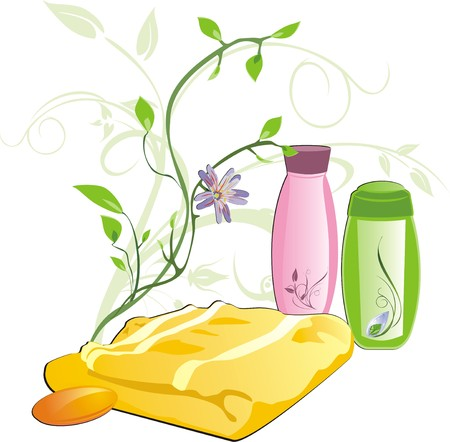 Sprig and set for bathing. Vector Vector