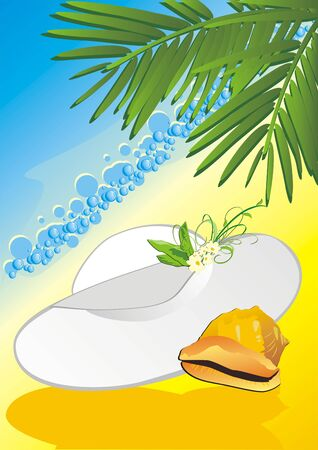 Hat and cockleshell among the branches of palms. Vector Vector