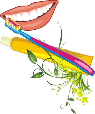 womanish: Womanish smile, tooth brush and paste. Vector