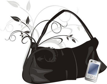 womanish: Mobile telephone and womanish bag. Abstract composition. Vector