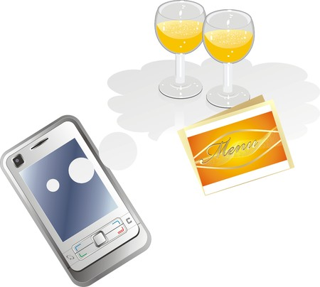 shopping champagne: Mobile telephone and glasses with by champagne. Vector