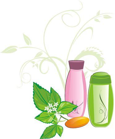 a sprig: Mint sprig and set for bathing. Vector Illustration