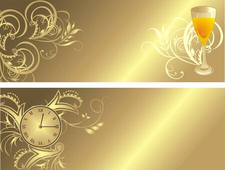 Clock and glass. Gothic ornament for two banners. Vector Stock Vector - 5453712