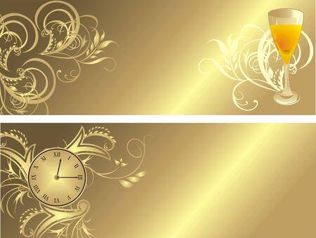 Klok en glas. Gothic sieraad voor twee banners. Vector  Vector Illustratie