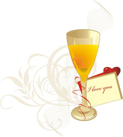 Glass and valentines card. Romantic composition. Vector Stock Vector - 5465149
