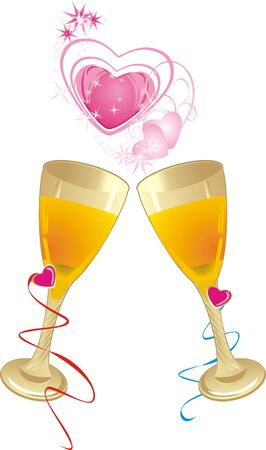 Glasses and hearts. Romantic composition. Vector Stock Vector - 5465141