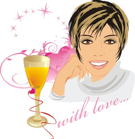 Beautiful woman with glass and hearts. Romantic composition. Vector Vector