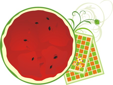 serviettes: Watermelon and serviettes. Vector Illustration