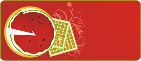 serviettes: Watermelon and serviettes. Background for menu. Vector Illustration