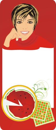 watermelon woman: Watermelon and portrait of beautiful woman. Abstract composition. Vector Illustration