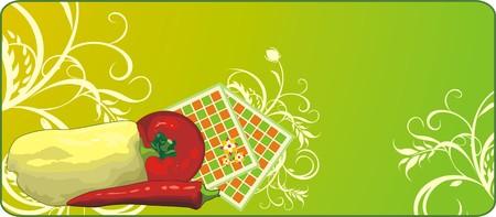 serviettes: Vegetables and serviettes. Background for banner. Vector Illustration