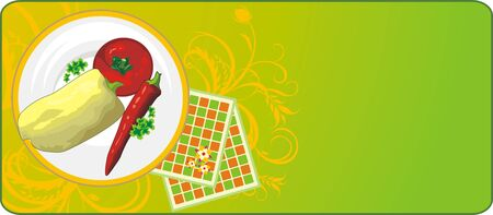 Vegetables on a dish. Background for banner. Vector Stock Vector - 5465147