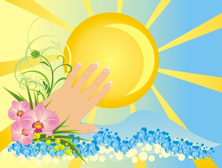 Womanish hand and flowers. Summer composition. Vector Vector