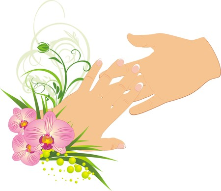 french manicure: Womanish and masculine hands. Romantic composition. Vector