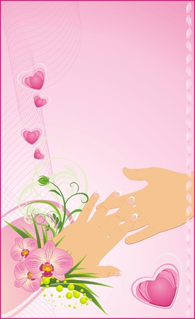 french manicure: Womanish and masculine hands. Romantic background for wedding. Vector