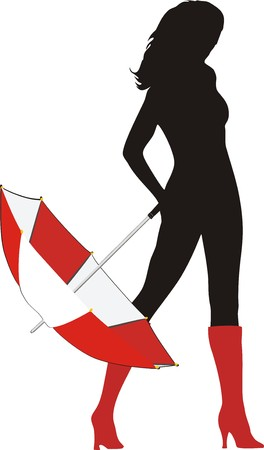 Silhouette de fille avec un parapluie. Vecteur  Vecteurs