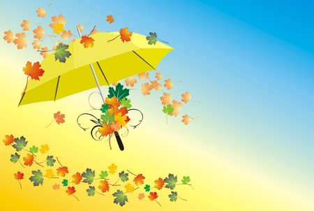 varicolored: Umbrella and varicolored leaves. Vector