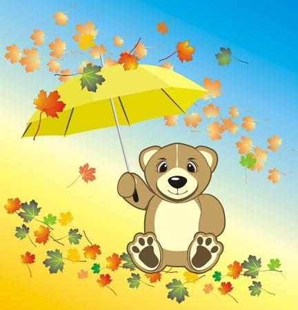 Bruin with umbrella. Autumn composition. Vector Vector