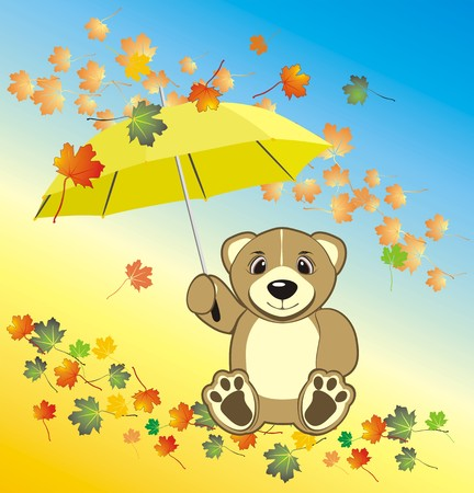 opened eye: Bruin with umbrella. Autumn composition. Vector Illustration