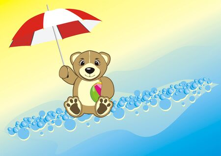 opened eye: Bruin with umbrella and ball. Vector
