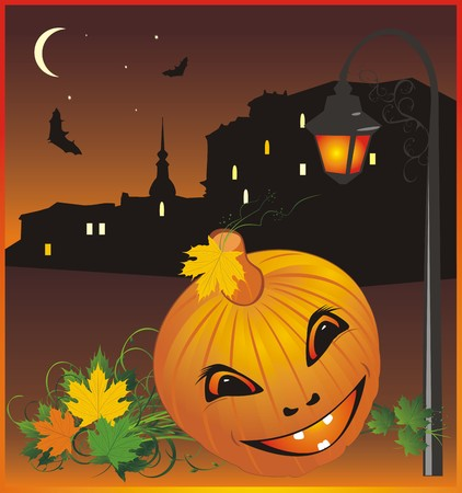 nightly: Halloween. Nightly city. Abstract composition. Vector