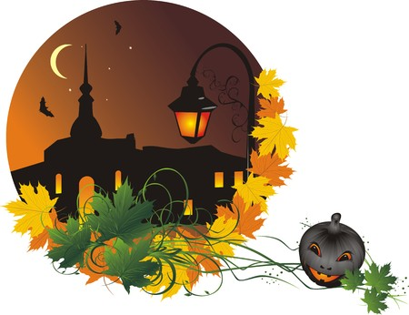 Halloween. Nightly city. Abstract composition for sticker. Vector Vector
