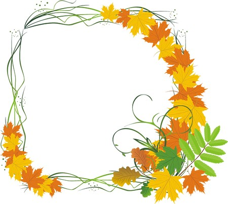 Bouquet of leaves. Abstract composition for frame. Vector Vector