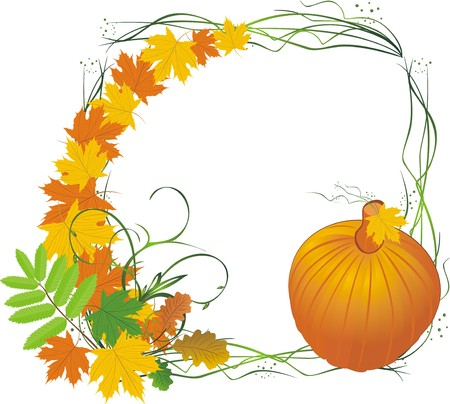 Leaves and pumpkin. Autumn composition. Vector Vector